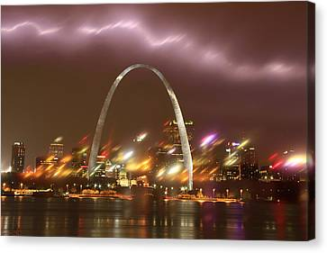 Lightning Over The Arch Canvas Print by Garry McMichael