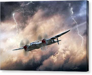 Lockheed Aircraft Canvas Print - Lightning Race by Peter Chilelli