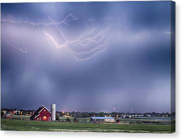 Lightning Storm And The Big Red Barn Canvas Print by James BO  Insogna