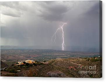 Lightning Storm Over The Verde Valley As Seen From Jerome Arizona Canvas Print