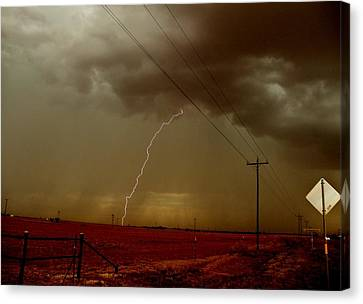 Canvas Print featuring the photograph Lightning Strike In Oil Country by Ed Sweeney