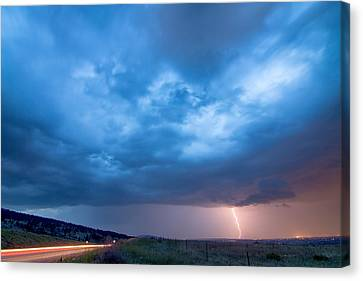 The Lightning Man Canvas Print - Lightning Strike Just Outside Of Lyons Colorado by James BO  Insogna