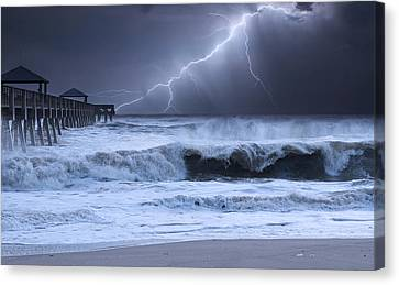 At Sea Canvas Print - Lightning Strike by Laura Fasulo