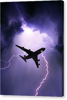 Lightning Strike On Aircraft Canvas Print by David Parker