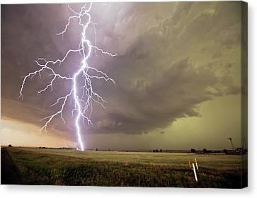 Lightning Strike Canvas Print by Roger Hill