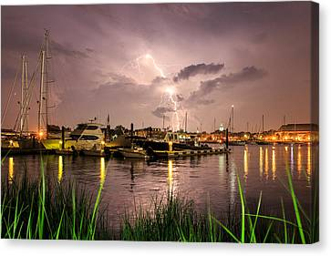 Canvas Print featuring the photograph Lightning Strikes Annapolis by Jennifer Casey
