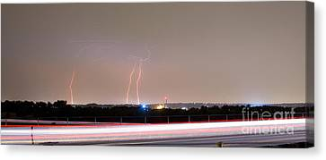 Lightning Strikes Next To Highway Panorama Canvas Print by James BO  Insogna