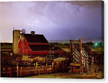 Cattle Run Canvas Print - Lightning Strikes Over The Farm by James BO  Insogna