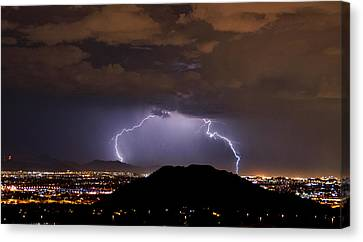 Lightning Strikes Phoenix  Canvas Print