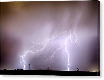 Lightning Strikes The Dacono Oil Fields Canvas Print by James BO  Insogna