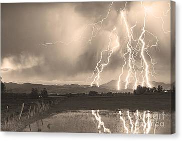 Lightning Striking Longs Peak Foothills Sepia 4 Canvas Print