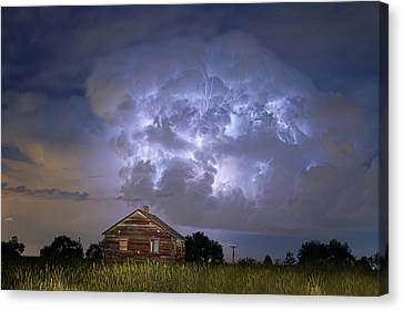 Lightning Thunderstorm Busting Out Canvas Print by James BO  Insogna