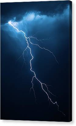Danger Canvas Print - Lightning With Cloudscape by Johan Swanepoel