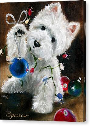 West Highland Canvas Print - Lights And Balls by Mary Sparrow