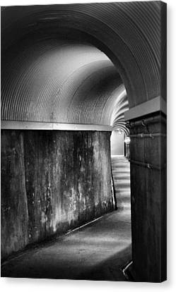 Lights At The End Of The Tunnel In Black And White Canvas Print