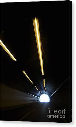Lights Inside A Highway Tunnel Canvas Print by Sami Sarkis