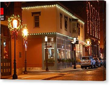 Lights Lowell Ma At Christmas Canvas Print by Mary McAvoy