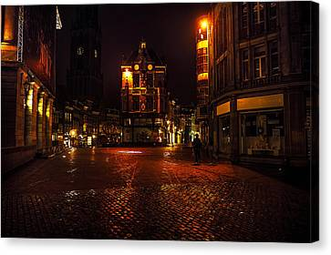 Lights Of Night Utrecht. Netherlands Canvas Print by Jenny Rainbow
