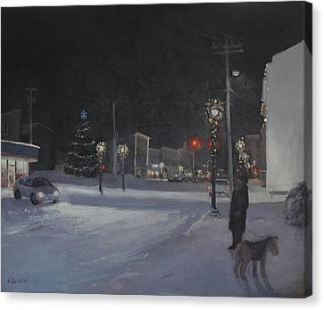 Lights On Main Street Canvas Print by Nancy Campbell