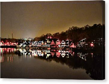 Lights On The Schuylkill River Canvas Print by Bill Cannon