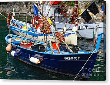 Ligurian Fishing Boats Up Close Canvas Print by George Oze