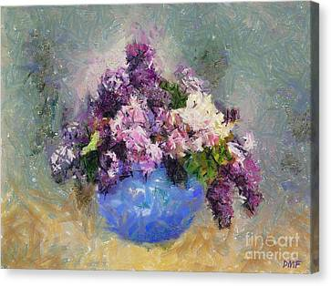 Lilac In Blue Vase Canvas Print by Dragica  Micki Fortuna