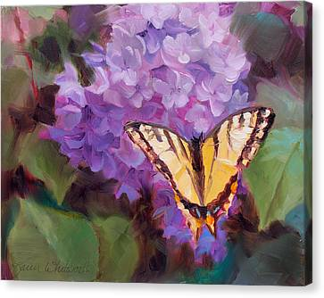 Lilacs And Swallowtail Butterfly Canvas Print by Karen Whitworth