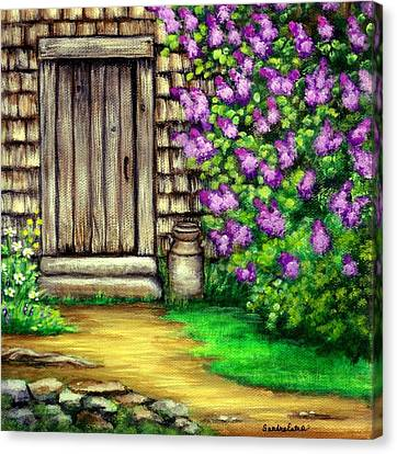 Lilacs By The Barn Canvas Print
