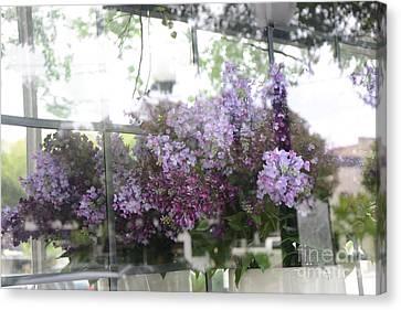 Lilacs Hanging Basket Window Reflection - Dreamy Lilacs Floral Art Canvas Print
