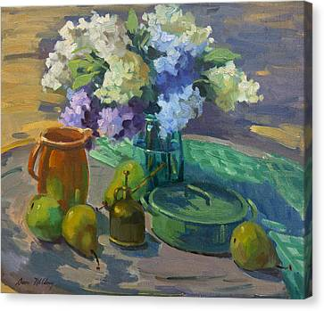 Lilacs Harmony In Green Canvas Print