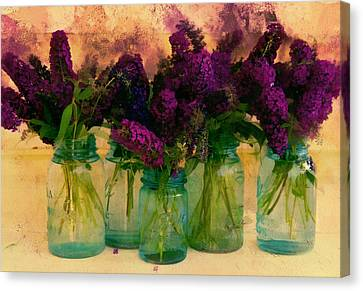 Intense Color Canvas Print - Butterfly Bush In Jars by Bernie  Lee