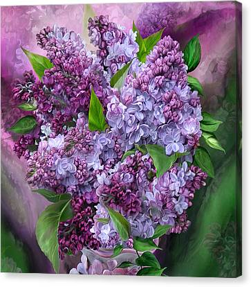 Lilacs In Lilac Vase - Sq Canvas Print