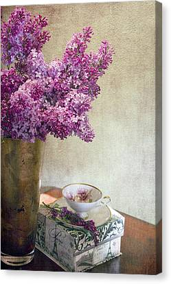Lilacs In Vase 3 Canvas Print by Rebecca Cozart