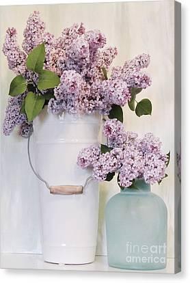 Lilacs Still Life Canvas Print by Marsha Heiken