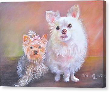 Canvas Print featuring the painting Lili And Tenti by Patricia Schneider Mitchell
