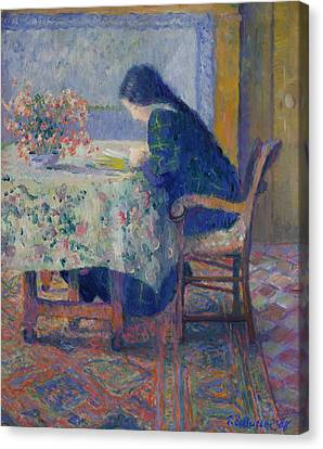 Lili Butler Reading At The Butler House. Giverny Canvas Print by Theodore Earl Butler