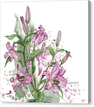 Floral Canvas Print - Lilies -03- Elena Yakubovich by Elena YakLilysubovich