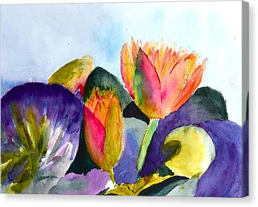 Lilies Of The Water Canvas Print by Beverley Harper Tinsley