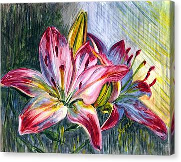 Canvas Print featuring the painting Lilies Twin by Harsh Malik