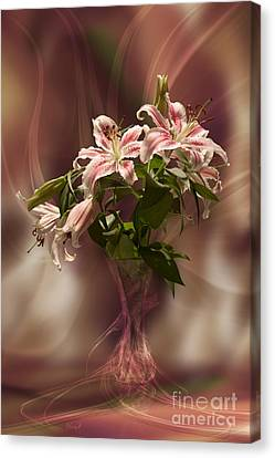 Lilies With Floating Vas Canvas Print