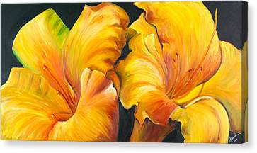 Canvas Print featuring the painting Lillies by Sheri  Chakamian