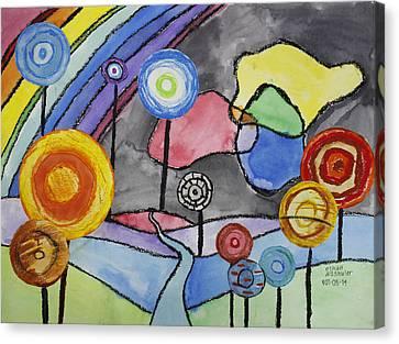 Lollipops And Rainbow  Canvas Print