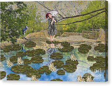 Canvas Print featuring the digital art Lilly Pad Lane by Liane Wright