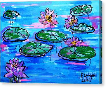 Lily Pond Blues Canvas Print by Ecinja Art Works
