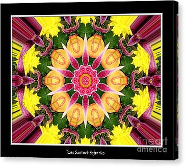 Canvas Print featuring the photograph Lily And Chrysanthemums Flower Kaleidoscope by Rose Santuci-Sofranko
