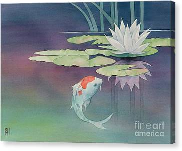 Lily And Koi Canvas Print by Robert Hooper