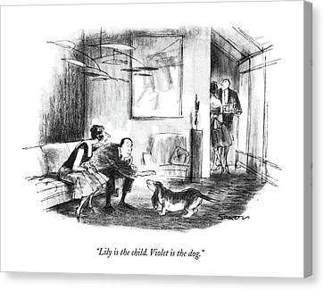 Lily Is The Child. Violet Is The Dog Canvas Print