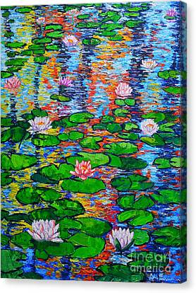 Lily Pond Colorful Reflections Canvas Print by Ana Maria Edulescu