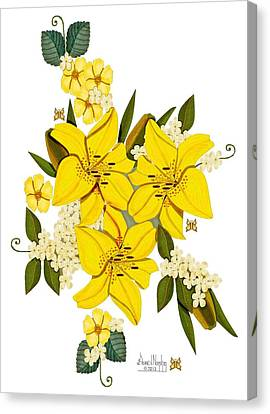 Lily Triplets Canvas Print by Anne Norskog