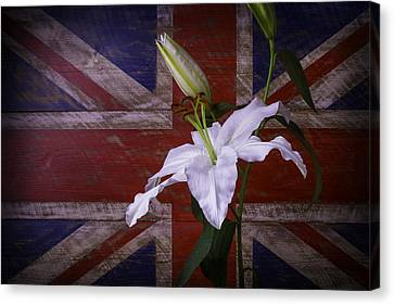 Lily With British Flag Canvas Print
